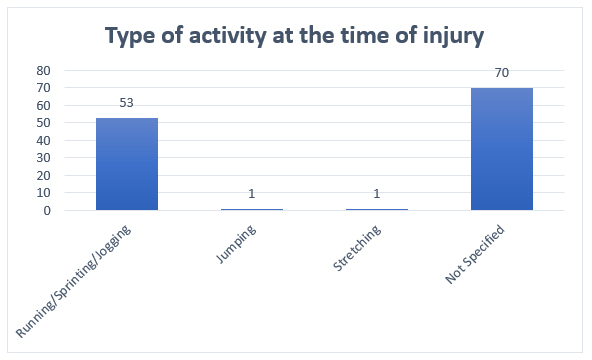 Graph 3. Bar graph showing the type of activity at the time of injury.